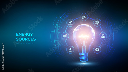 Fototapeta Glowing light bulb with energy resources icon