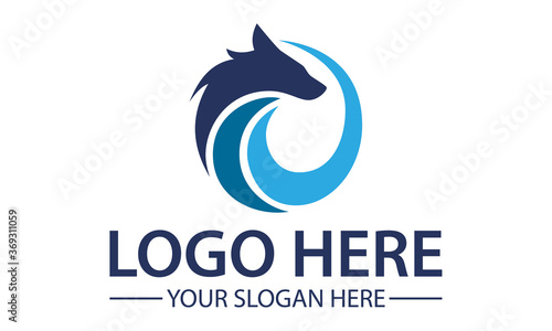 Fotografie, Tablou Blue Circle Abstract Fox Wolf Logo Design