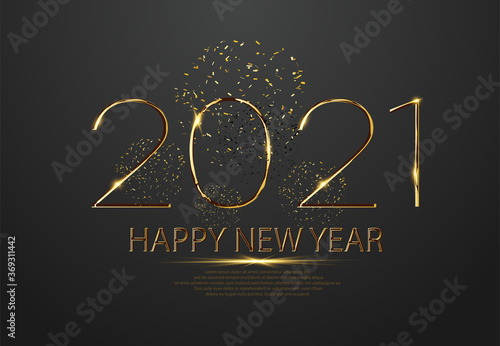 Fototapeta Happy new 2021 year. Elegant gold text with light. Party poster, banner or invitation gold glittering stars confetti glitter decoration. Liquid numbers 2021 are isolated on a grey background. Vector obraz