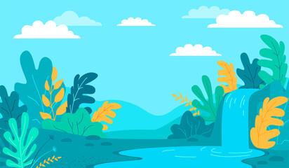 Fototapeta na wymiar Colorful summer landscape vector illustration