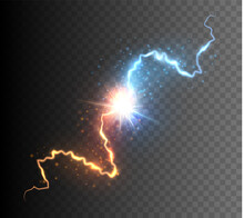 Collision Of Two Forces With Glowing Spark. Explosion Of Energy. Versus Concept