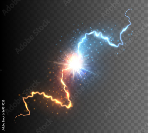 Fotografie, Tablou Collision of two forces with glowing spark