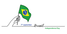 Brazil Independence Day Simple Web Banner, Background With Flag And Hand. One Continuous Line Drawing With Lettering Brazil.