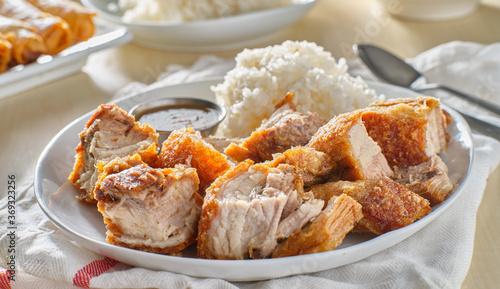 Fototapeta crispy filipino lechon kawali with white rice obraz