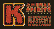 An Ornate Vector Alphabet With Tribal Native American, Southwestern, Or Latin American Decorative Qualities. This Capital Letter And Number Font Has A Primitive Spirit Animal Feel.