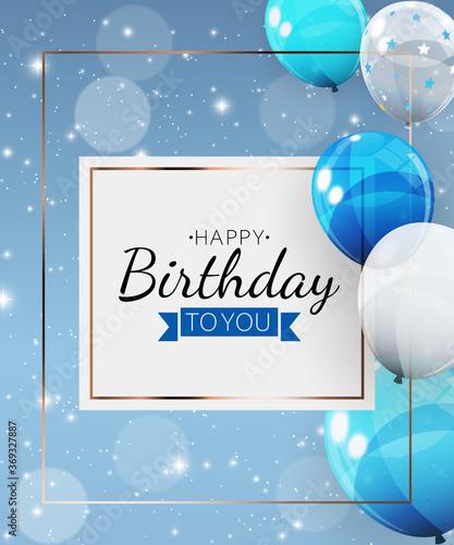 Obraz Birthday invitation background with balloons. Vector Illustration - fototapety do salonu