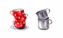 Watercolor Illustration.a Set Of Aluminum Vintage Retro Mugs And Red Porcelain Cups With Polka Dots. Isolated On A White Background.