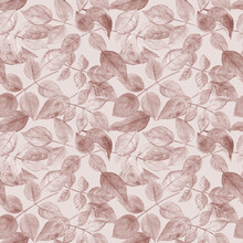 Autumn Elegant Pattern With Leaves Toned In Brown Color On A Light Cocoa Background. Great For Kitchen Textile And Gift Wrap. Watercolor Toned Illustration.