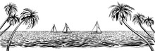 Panoramic Beach With Yachts Regatta. Vector Sketched Landscape With Palms And Sea.