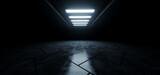 Fototapeta Perspektywa 3d - Empty Cement Warehouse Cement Sci Fi Futuristic White Blue Glowing Studio Lights Led Tunnel Corridor Showroom Underground Parking Showcase Electric Grunge Concrete Floor 3D Rendering