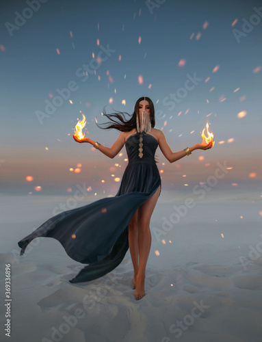 Photo Beautiful woman sorceress holding fire in her hands