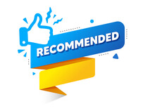 Recommended Banner With Thumbs Up Icon. Recommend Speech Bubble. Best Deal Vector Stamp. Good Recommendation Offer Paper Ribbon. Best Recommend Product Sticker. Great Top Offer Icon.