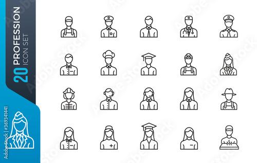 Obraz na płótnie minimal profession icon set