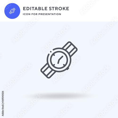 Fototapeta Wristwatch icon vector, filled flat sign, solid pictogram isolated on white, logo illustration. Wristwatch icon for presentation. obraz na płótnie