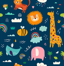 Baby Animals Seamless Pattern. Vector Illustration With Cute Animals. Nursery Baby Pattern