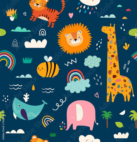 Fototapeta Baby animals seamless pattern