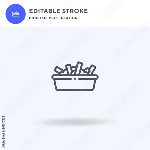 Poutine icon vector, filled flat sign, solid pictogram isolated on white, logo illustration. Poutine icon for presentation.