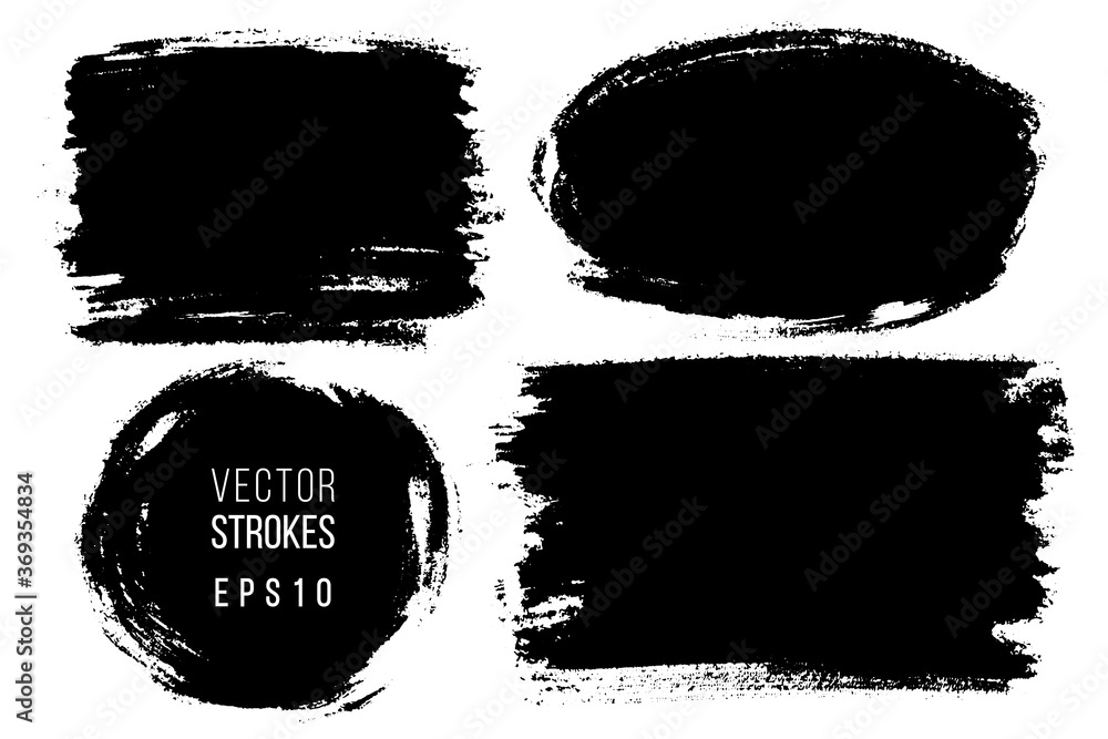 Fototapeta Vector set of hand drawn brush strokes, stains for backdrops. Monochrome design elements set. One color monochrome artistic hand drawn backgrounds.