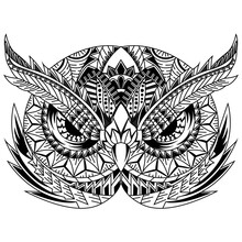 Hand Drawn Of Owl Head In Zent...