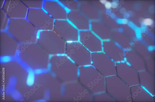 Abstract background with glowing hexagons. Futuristic technology honeycomb mosaic. 3D render illustration - 369366018