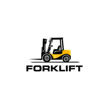 Forklift Logo With Color Combination Of Black And Yellow Vector