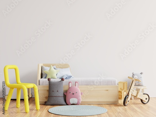 Obraz Mock up wall in the children's room in white wall background. - fototapety do salonu
