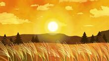 綺麗な夕日とススキの...