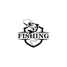 Fishing Logo With A Shield Vec...