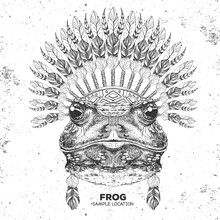 Hipster Animal Frog With India...