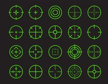 Green Target Line Vector Icon Set. Neon Shooter Game Crosshair Element For Firearm Aiming Focus. HUD Sniper Aim.