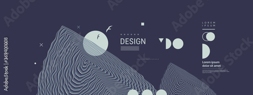 Obraz Background with optical illusion. Pattern can be used as a template for brochure, annual report, magazine, poster, presentation, flyer or banner. 3d vector illustration. - fototapety do salonu