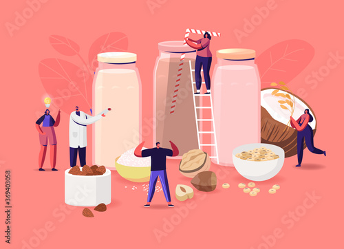 Obraz Vegan Milk. Tiny Male and Female Characters with Assortment of Organic Non Dairy Drinks from Nuts, Oatmeal, Rice and Soy - fototapety do salonu