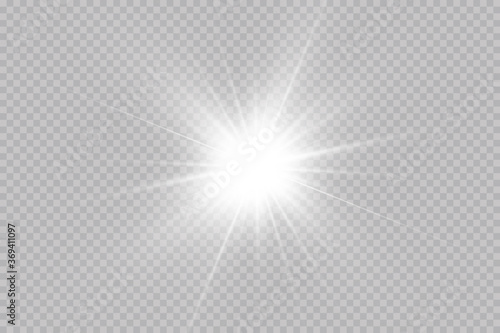 Obraz  Shine starlight isolated on transparent background. Glowing light effect.Set of flashes, Lights and Sparkles on a transparent background. Bright gold flashes and glares. - fototapety do salonu