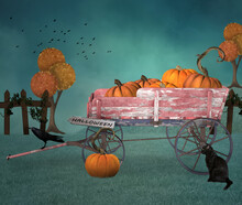 Halloween Pumpkins Carriage Wi...
