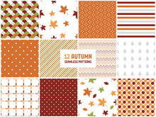 12 Autumn Seamless Patters. Seamless Background With Fall Leaves, Polka Dot, Stripes And Zig Zag. Abstract Fabric Texture. Colorful Illustration In Flat Design.