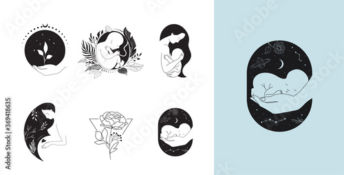 Motherhood, maternity, babies and pregnant women logos, collection of fine, hand Fototapet