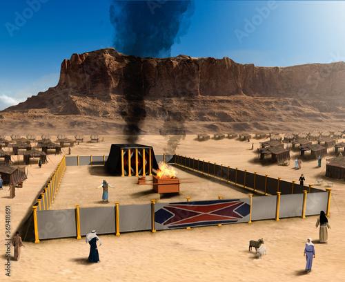 Fototapeta Biblical Tabernacle  the altar and Jewish tent city