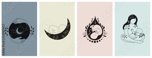 Fotografiet Motherhood, maternity, babies and pregnant women logos, collection of fine, hand