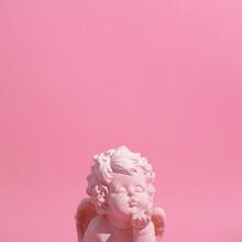 Angel Kiss. Minimal Still Life Art. Monochrome Trendy Colours.  Pastel Pink Design