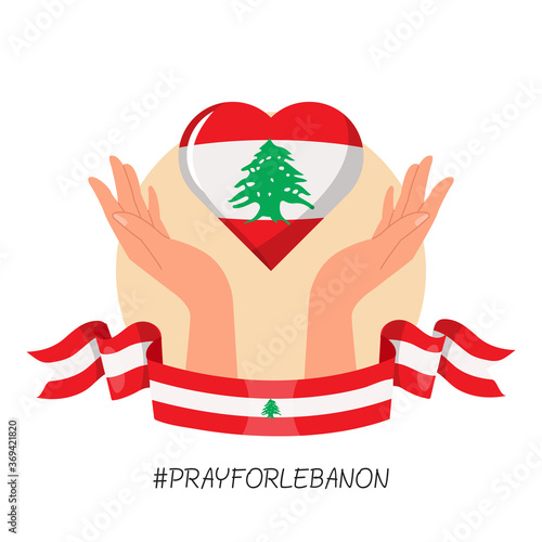 Obraz Prayer hand symbol for Beirut Lebanon explosion. Lebanon national flag ribbon and heart icon. Flat vector design style icon. - fototapety do salonu