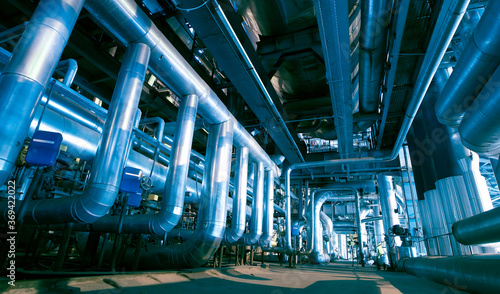 Obraz Industrial zone, Steel pipelines, valves and pumps - fototapety do salonu