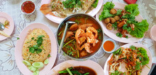 Flat Lay Of Thai Food With Fri...