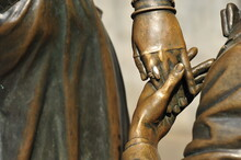 Bronze Statues, Male And Female, Stylized In The 19th Century,