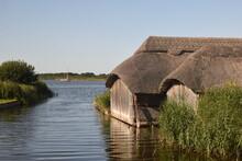 Boathouses On Hickling Broad During Summer 2020 - Norfolk, UK