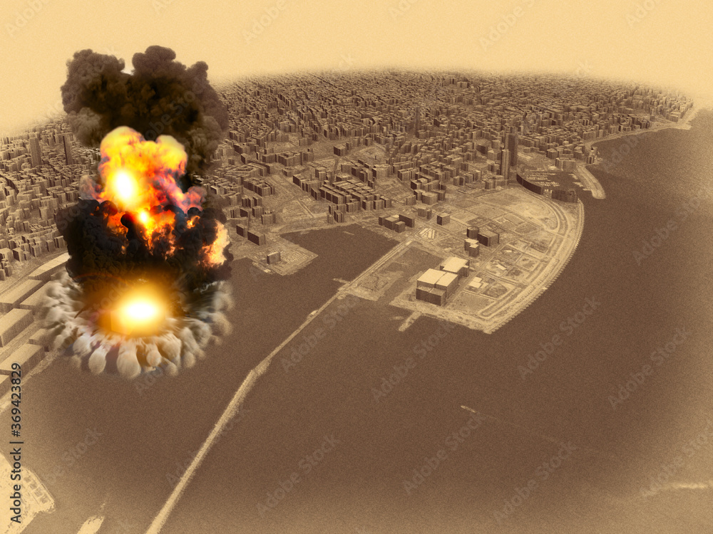Fototapeta Aerial view during the explosion in the port area of Beirut, Lebanon. Ammonium nitrate stored in the harbor. 3d render