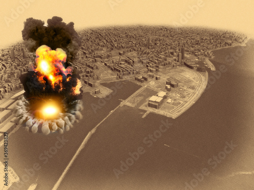 Obraz Aerial view during the explosion in the port area of Beirut, Lebanon. Ammonium nitrate stored in the harbor. 3d render - fototapety do salonu