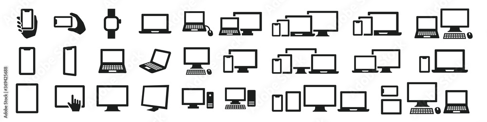 Fototapeta Simple computer icon set in various shapes