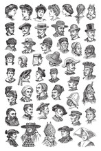 Old Portraits, Historical People With Hat Collection - Vintage Engraved Vector Illustration From Petit Larousse Illustré 1914