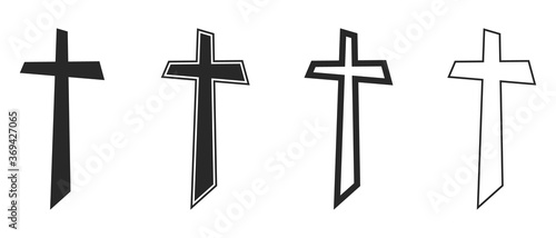 Fotografija Set of Christian Cross icons. Black vector Cross icons.
