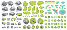 Set Of Landscape Elements. (Top View) Mountains, Hills, Rocks, Stones, Trees, Plants, Beach, Pond, River. (View From Above)